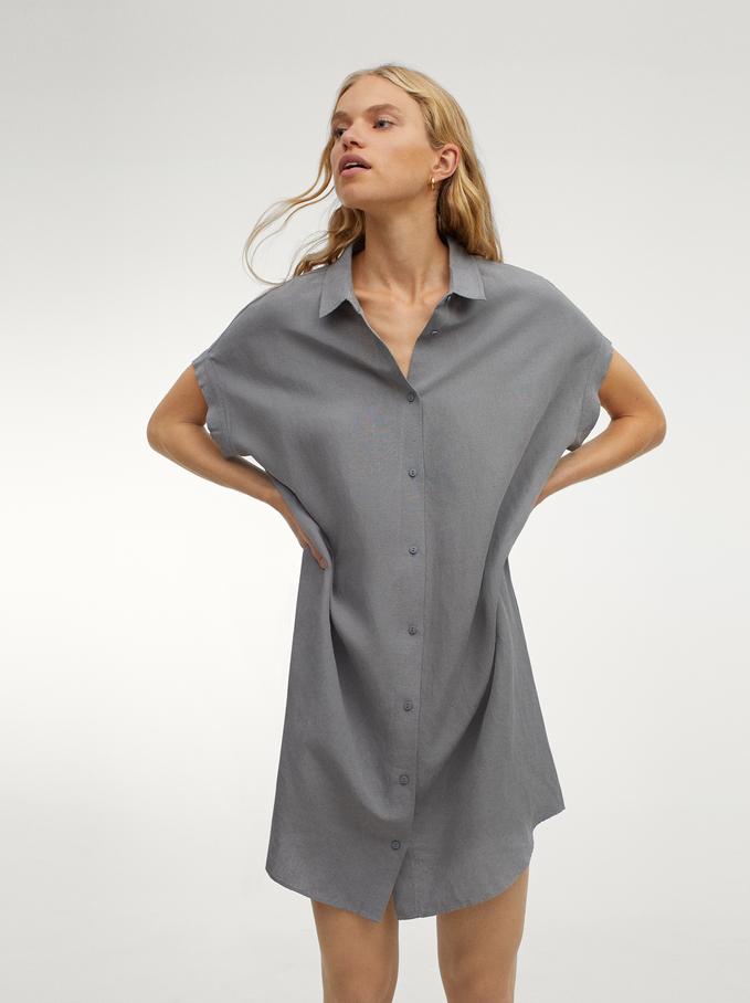Linen Shirt Dress, Grey, hi-res