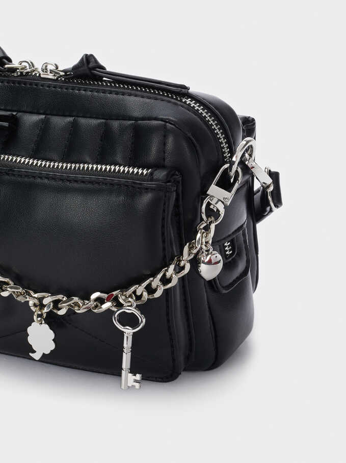 Quilted Crossbody Bag With Charms, Black, hi-res