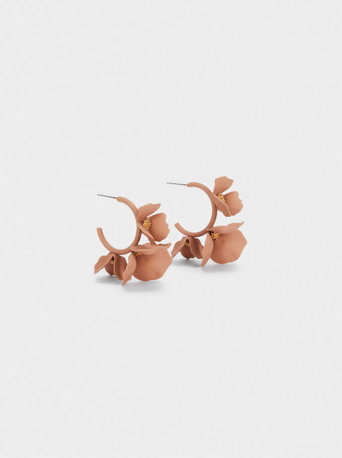 Small Flower Hoop Earrings, Pink, hi-res