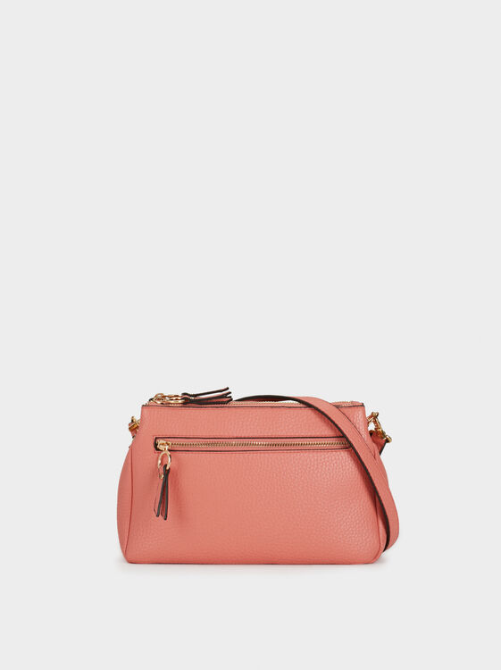 Plain Crossbody Bag With Outer Pocket, , hi-res
