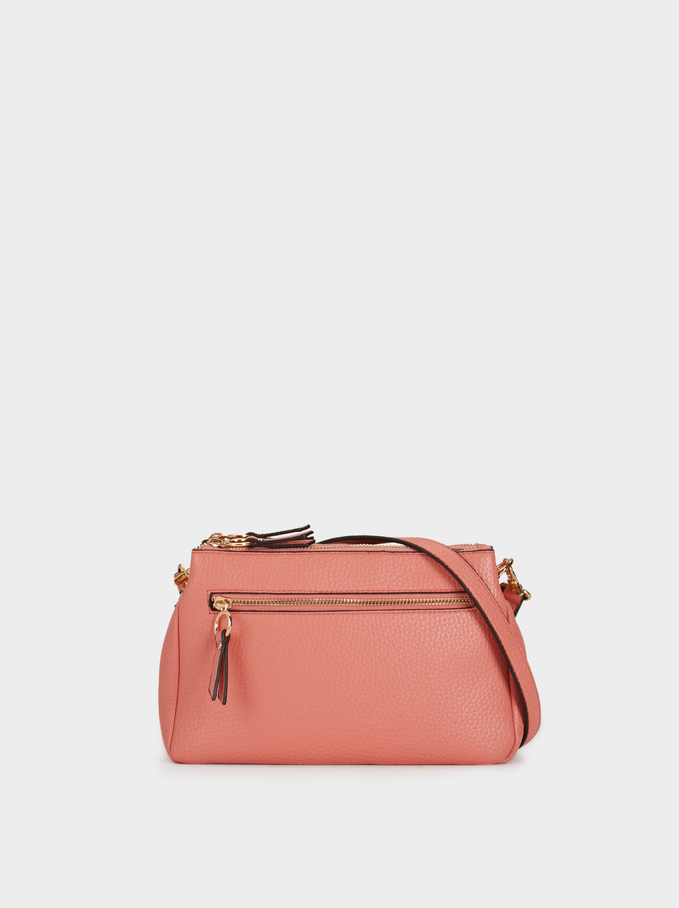 Plain Crossbody Bag With Outer Pocket, Coral, hi-res