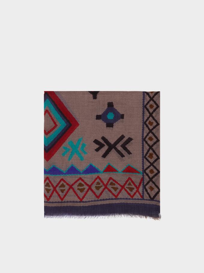 Printed Wool Scarf, Grey, hi-res
