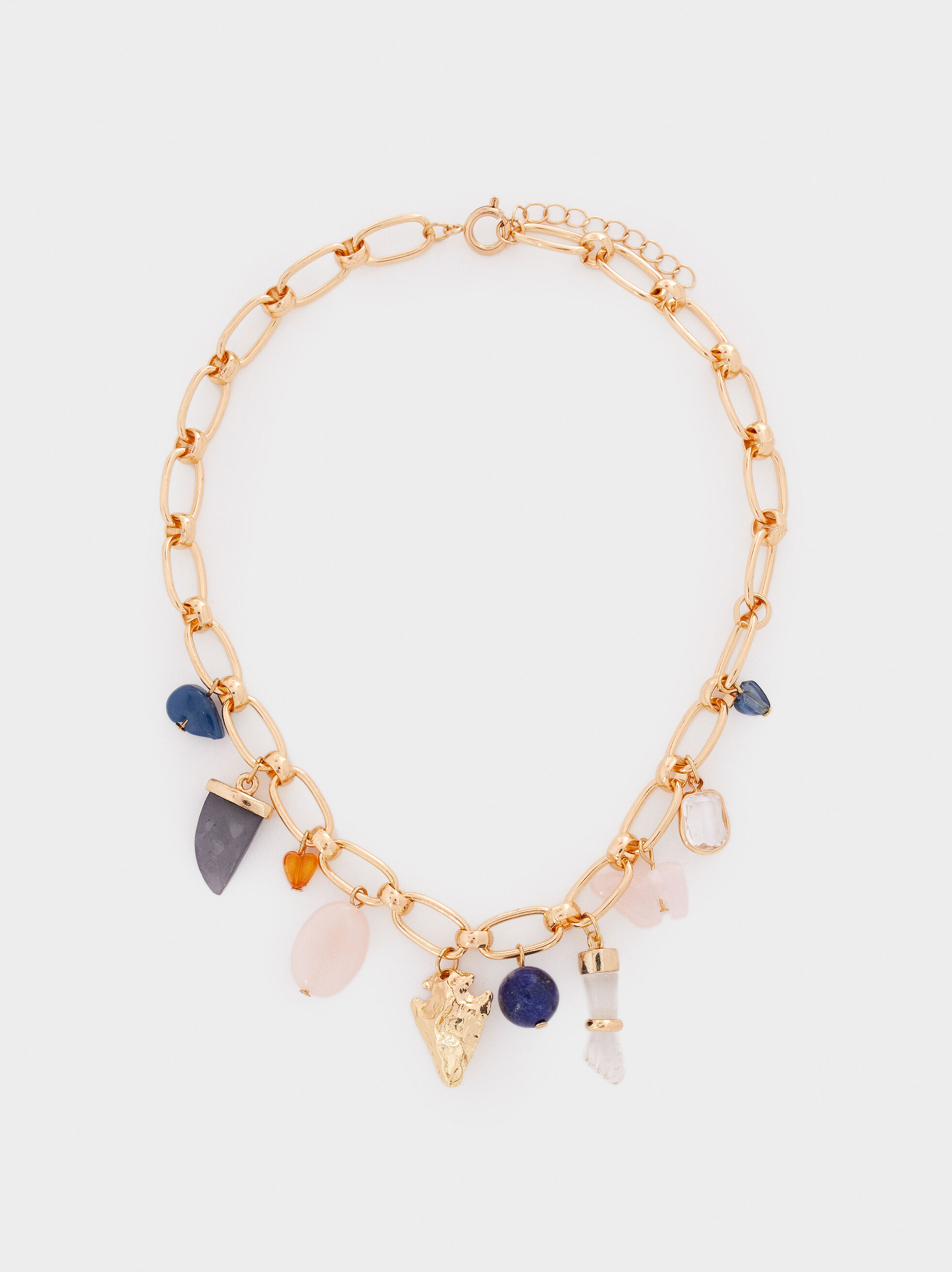 Short Necklace With Multicoloured Charms And Stones, Multicolor, hi-res
