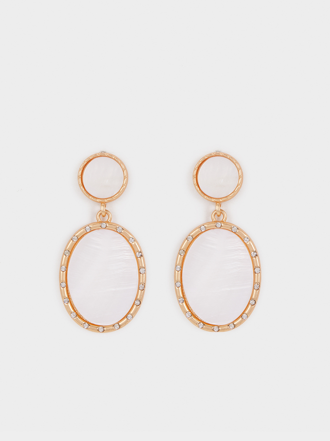 Medium Earrings With Mother-Of-Pearl Detail, Golden, hi-res