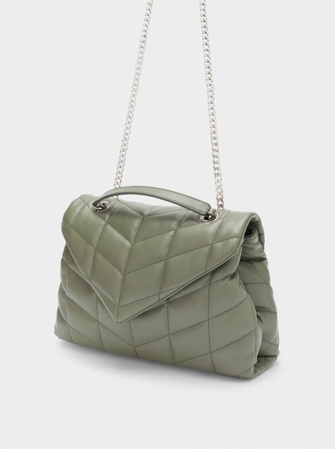 Quilted Shoulder Bag With Contrast Strap, Khaki, hi-res
