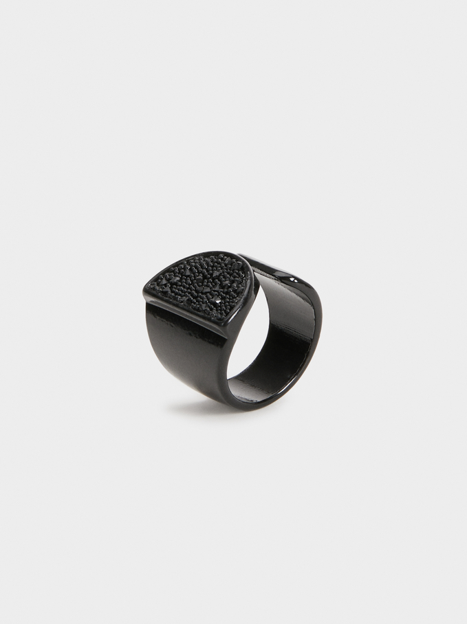 Star Dust Bejewelled Ring, Black, hi-res