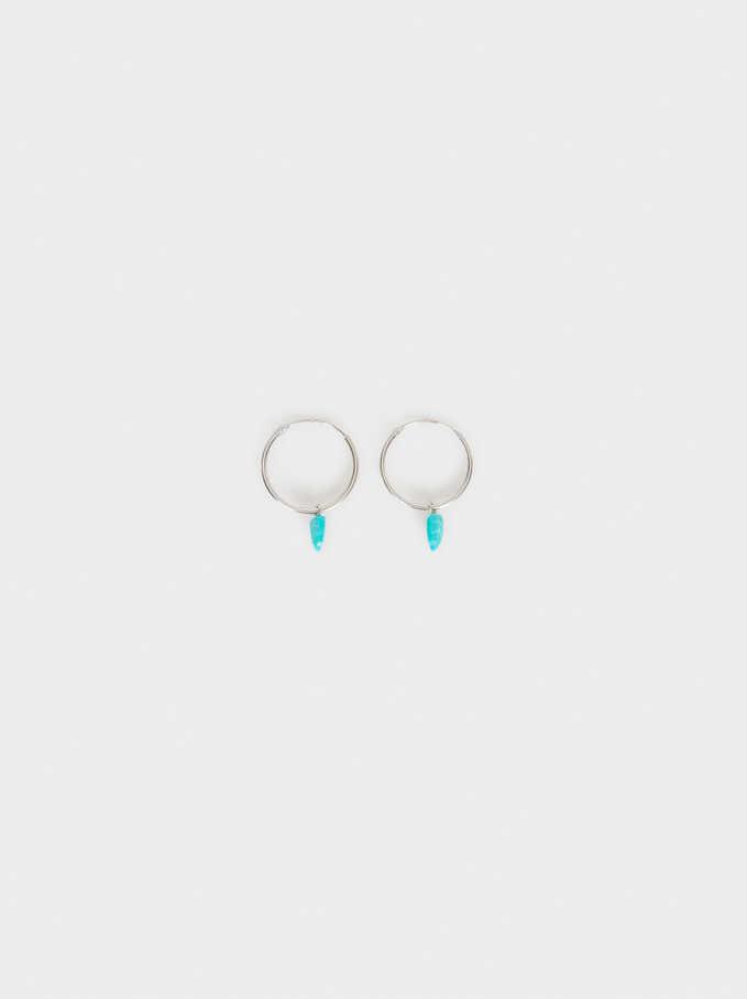 Short 925 Sterling Silver Leaf Hoops With Stones, Blue, hi-res