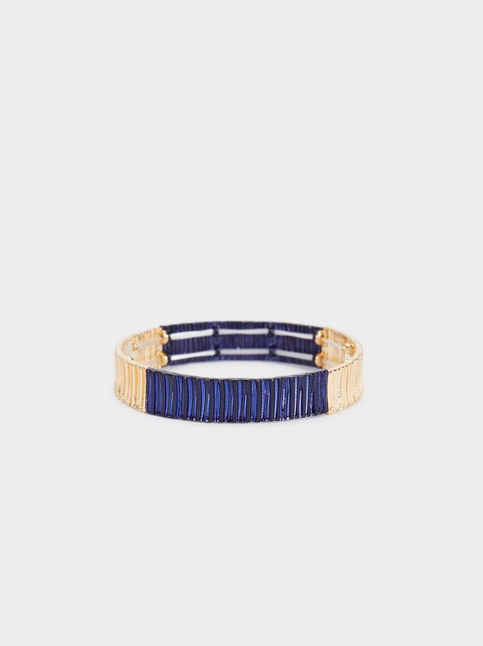 Recife Two-Toned Elastic Bracelet, Navy, hi-res