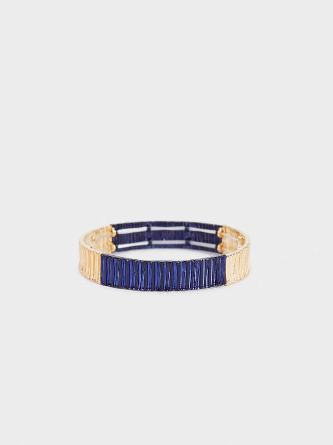 Recife Two-Toned Elastic Bracelet, Navy, hi-res