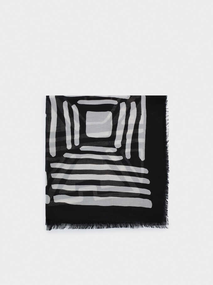 Printed Scarf, Black, hi-res