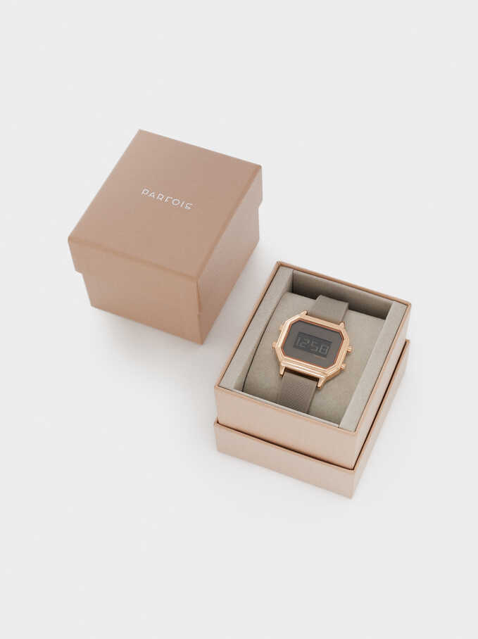 Digital Watch With Silicone Strap, Beige, hi-res