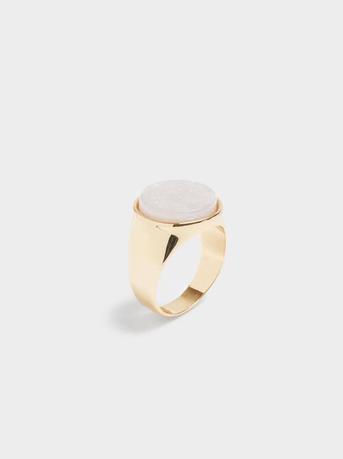 Metallic Signet Ring, Pink, hi-res