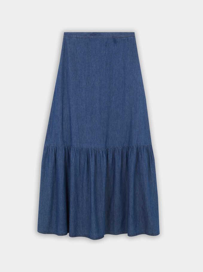 Long Tiered Denim Skirt, Blue, hi-res