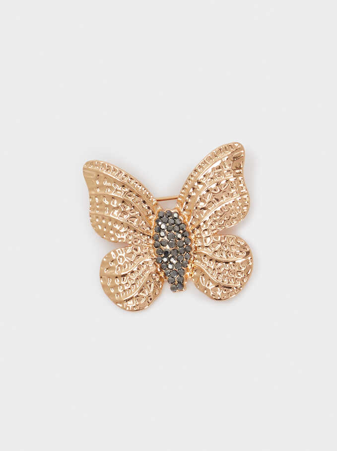 Golden Butterfly Brooch With Crystals, Golden, hi-res