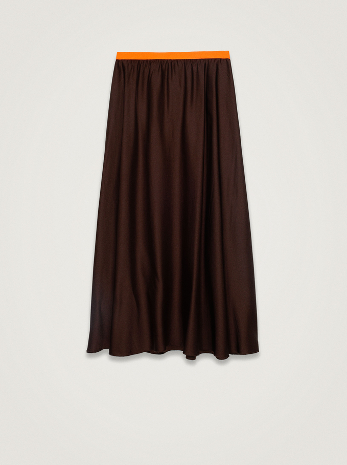 Long Skirt With Elastic Waistband, Brown, hi-res