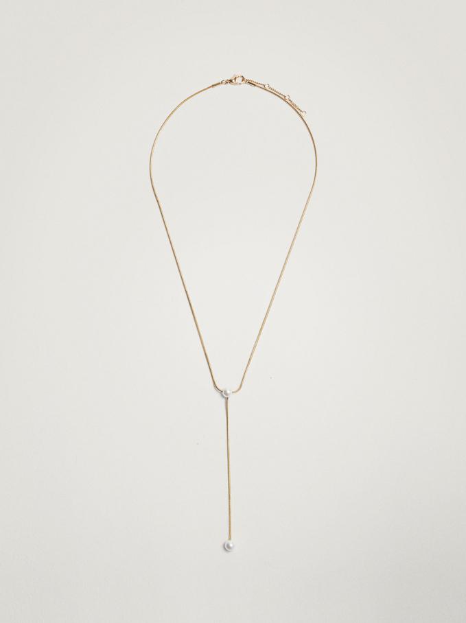 Long Pearl Necklace, Golden, hi-res