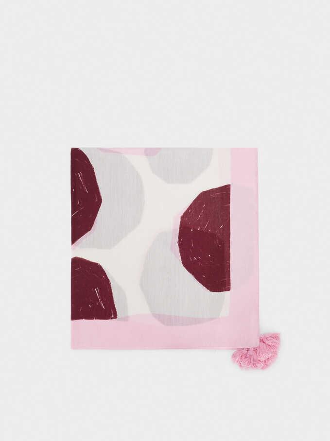 Foulard Imprimé Avec Pompons, Rose, hi-res