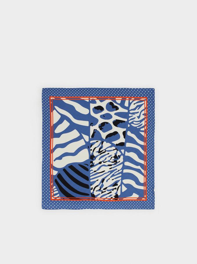 Animal Print Square Scarf, Blue, hi-res