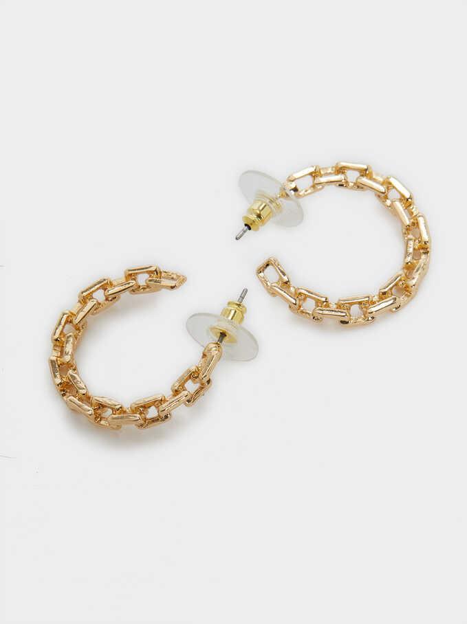 Small Link Hoop Earrings, Golden, hi-res