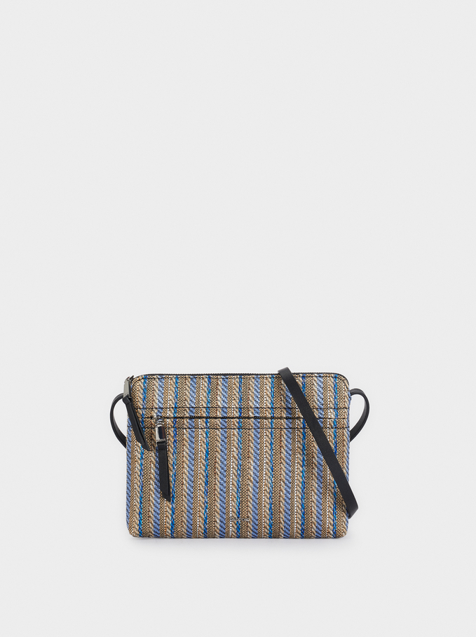 Raffia Textured Crossbody Bag, Blue, hi-res