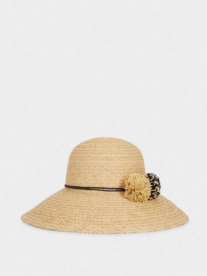 Sombrero Trenzado Con Pompones, Crudo, hi-res