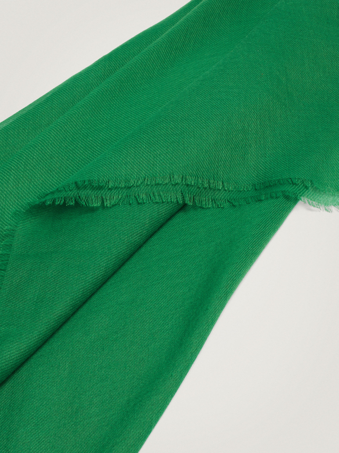 Plain Pashmina Made From Recycled Materials, Green, hi-res