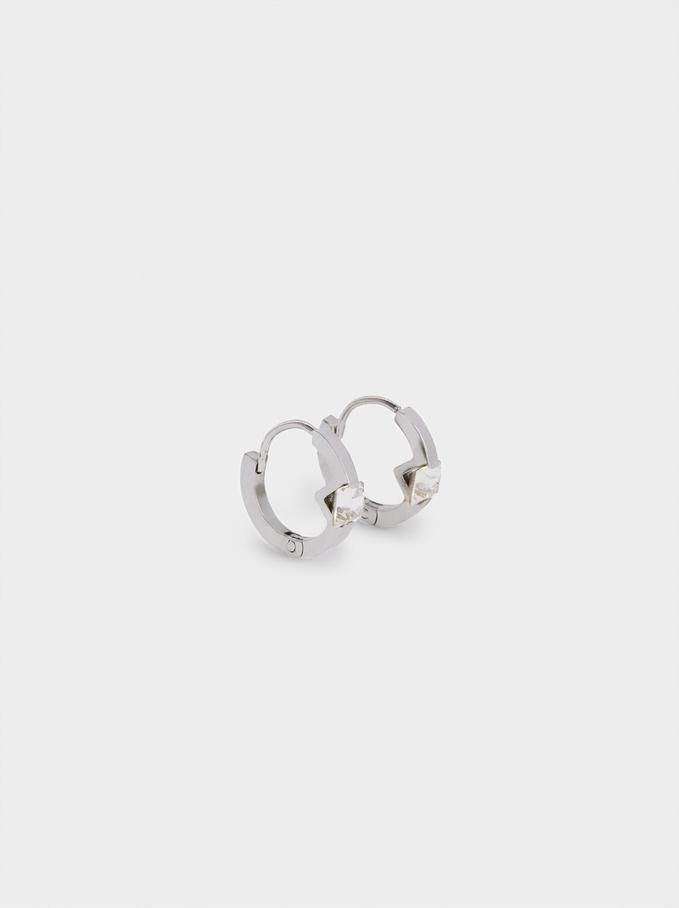 Set Of Stainless Steel Hoop Earrings With Swarovski Crystals, Silver, hi-res