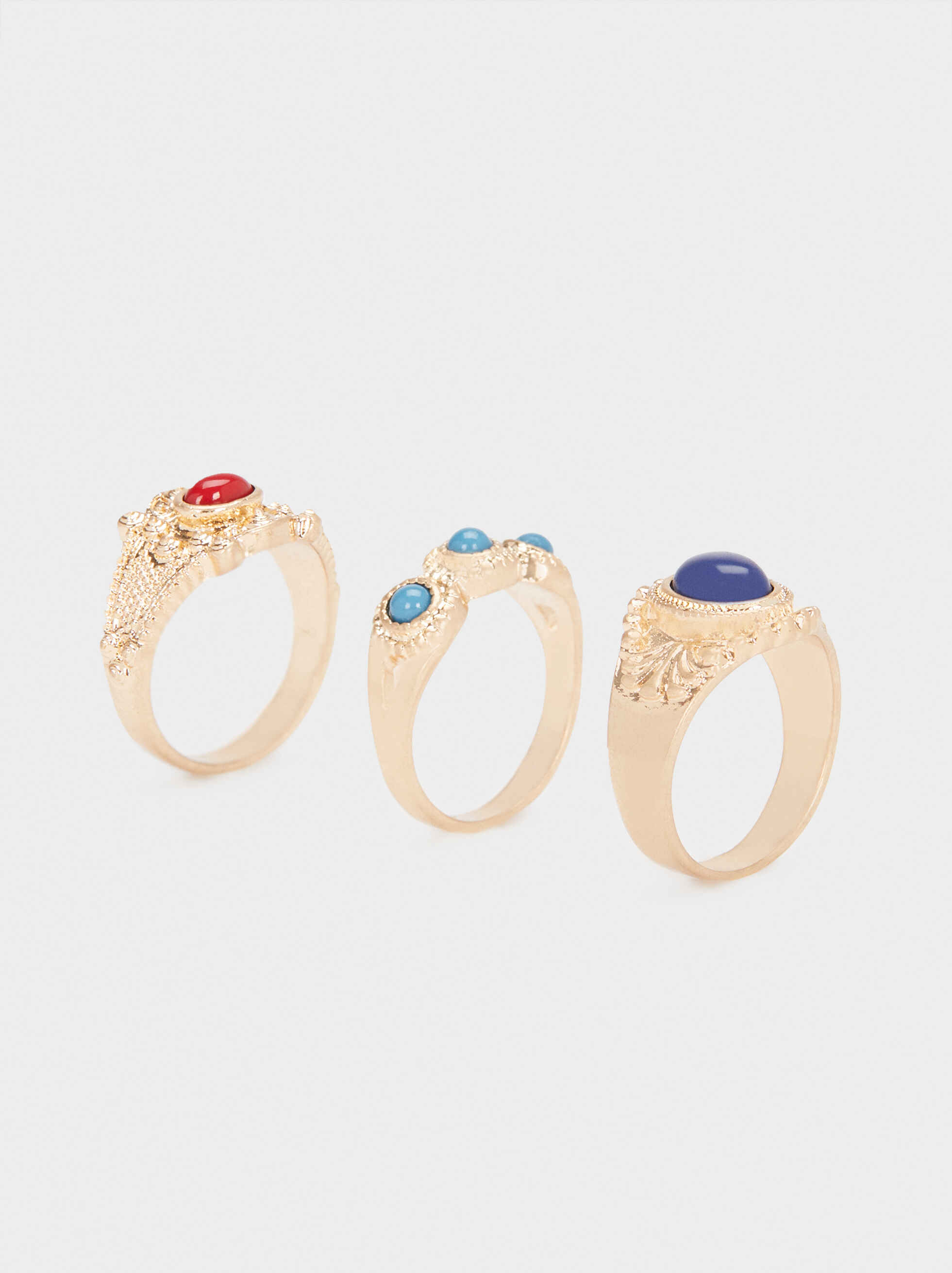 Gold Ring Set With Faux Pearl, , hi-res