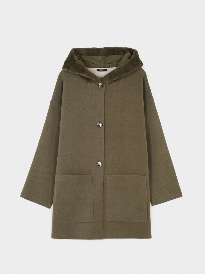 Hooded Cardigan With Pockets, Khaki, hi-res