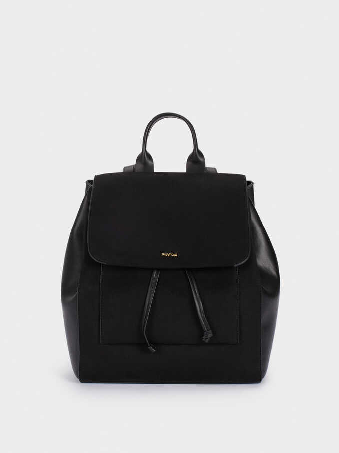 Suede Backpack With Front Flap Fastening, Black, hi-res