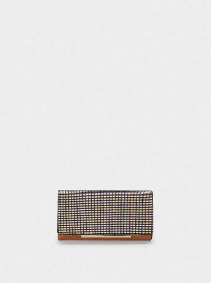 Long Raffia Textured Wallet, Navy, hi-res