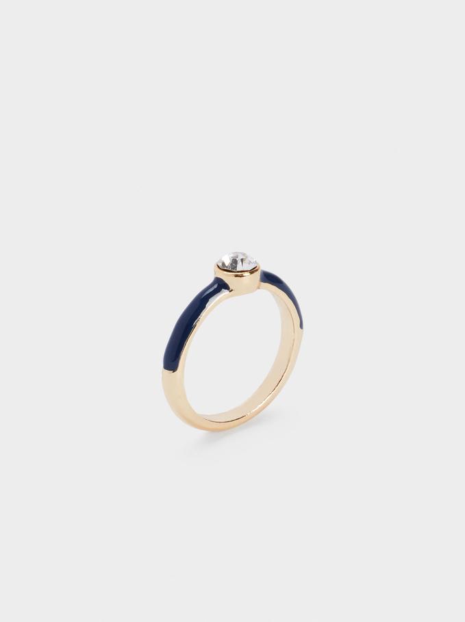 Enamel Ring With Crystal, Navy, hi-res