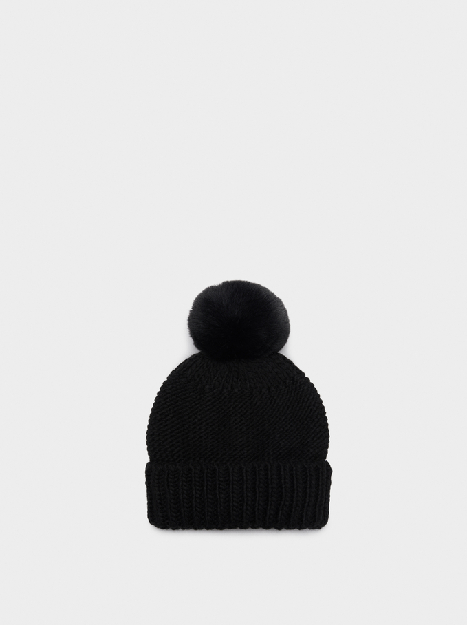Pompom Beanie Knitted Hat, Black, hi-res