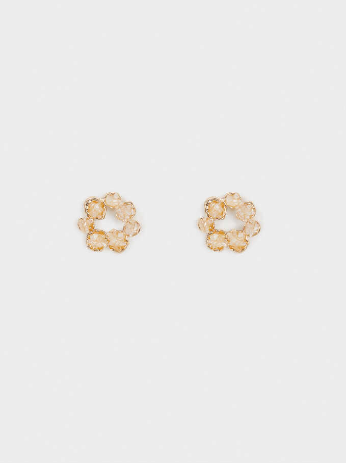 Short Earrings With Crystals, Beige, hi-res