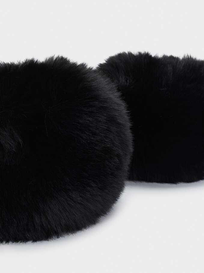 Faux Fur Cuffs, Black, hi-res