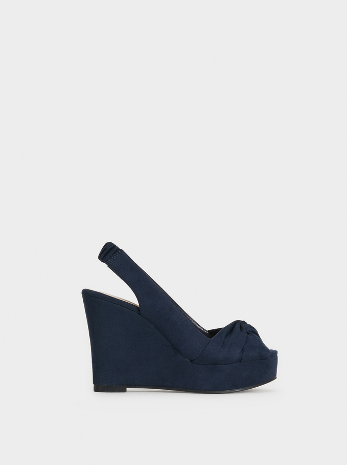 High Heel Wedges With Knot Detail, Navy, hi-res