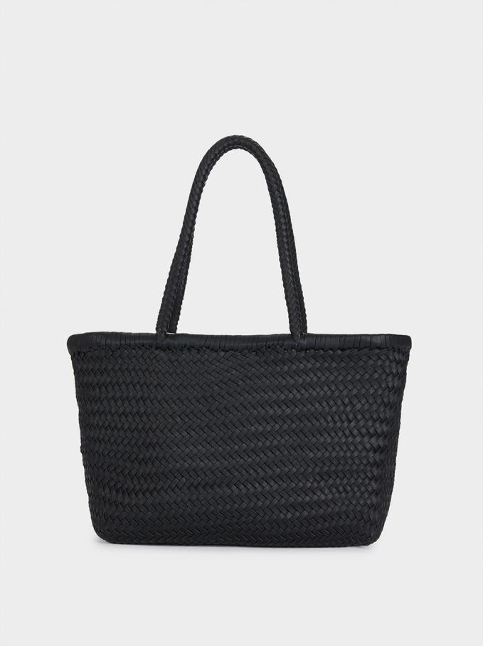 Hand Made Braided Tote Bag, Black, hi-res