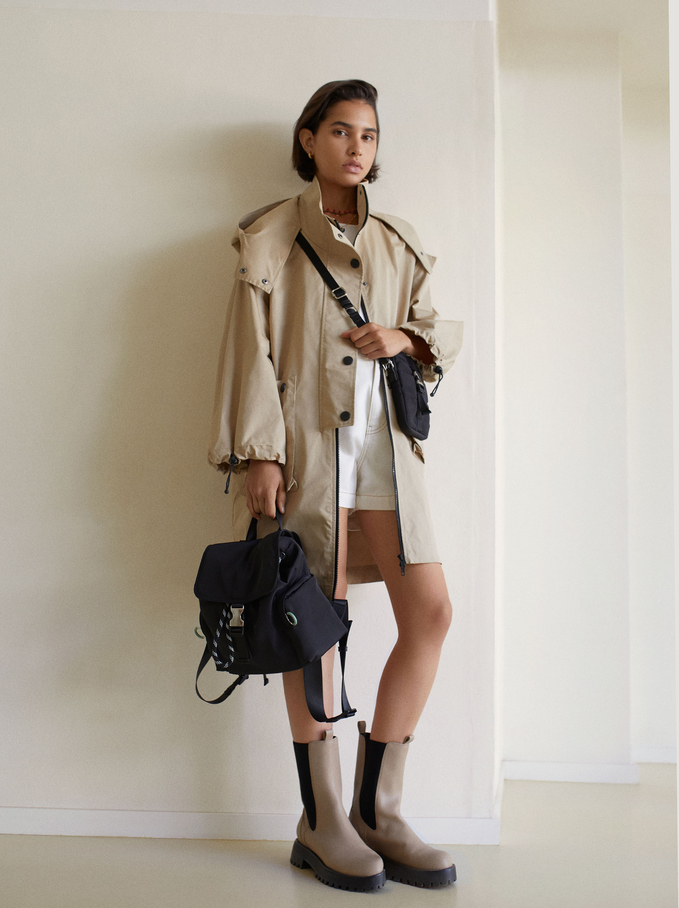 Nylon Backpack With Outside Pockets, Black, hi-res