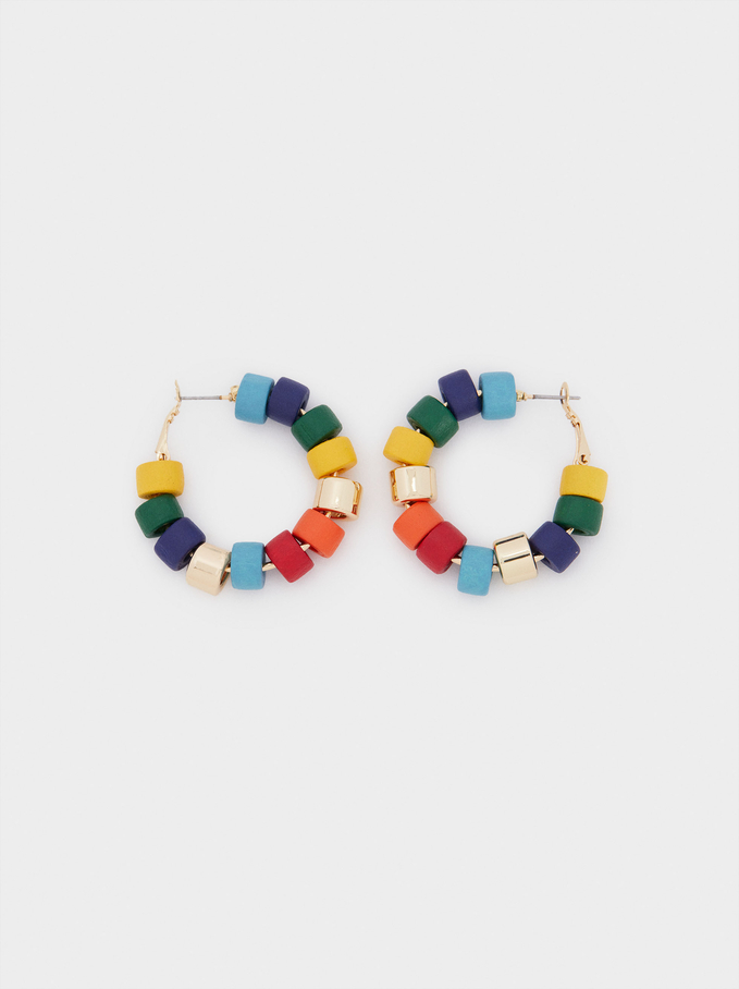 Beaded Hoop Earrings, Golden, hi-res