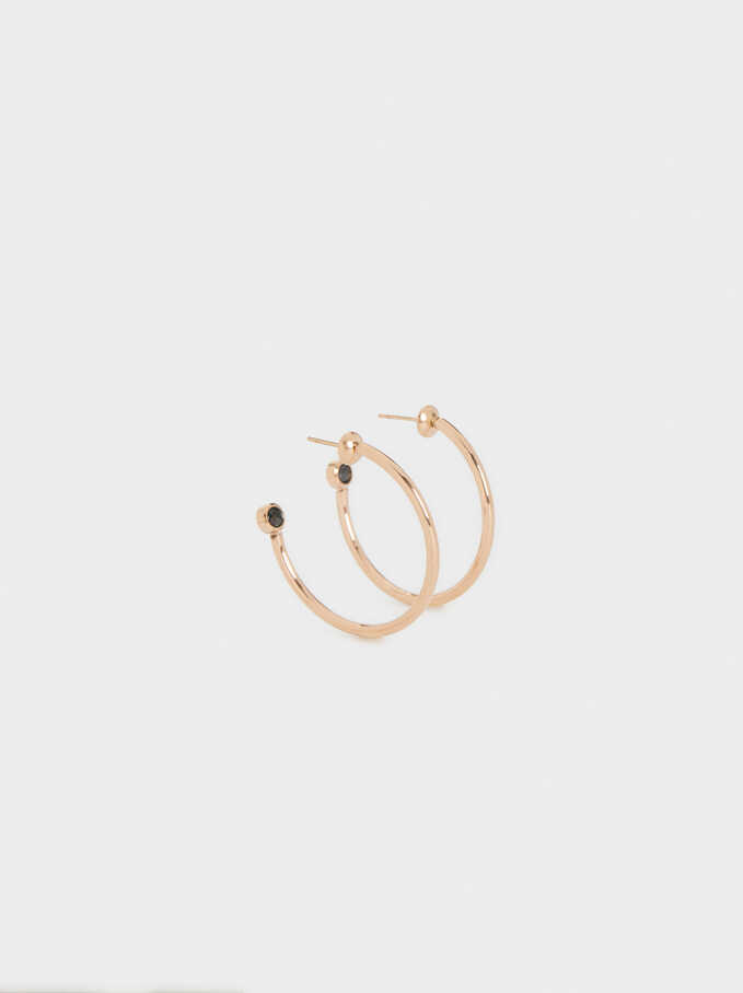 Medium Gold Hoop Earrings, Orange, hi-res