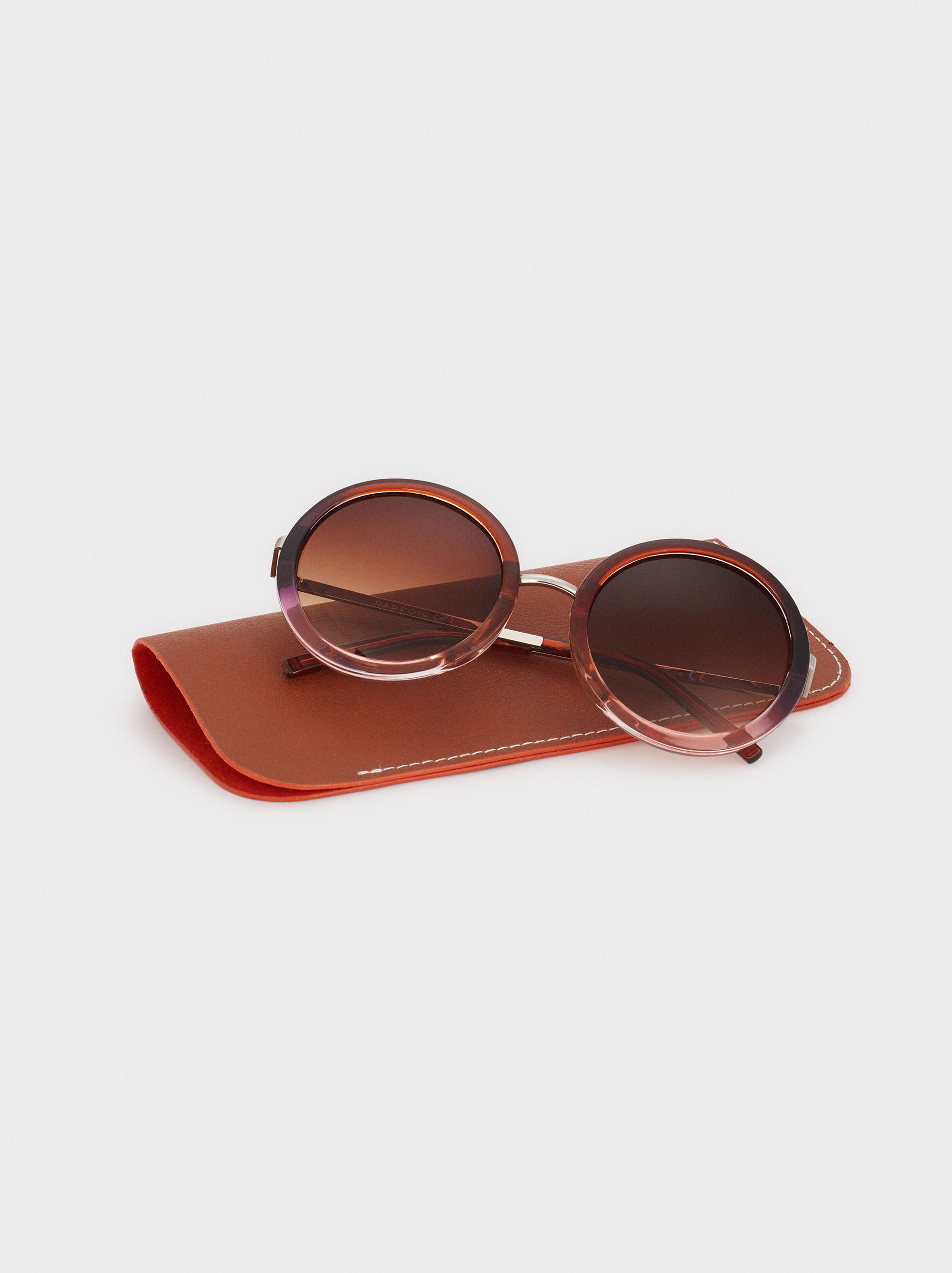 Sunglasses With Round Plastic Frames , Brown, hi-res