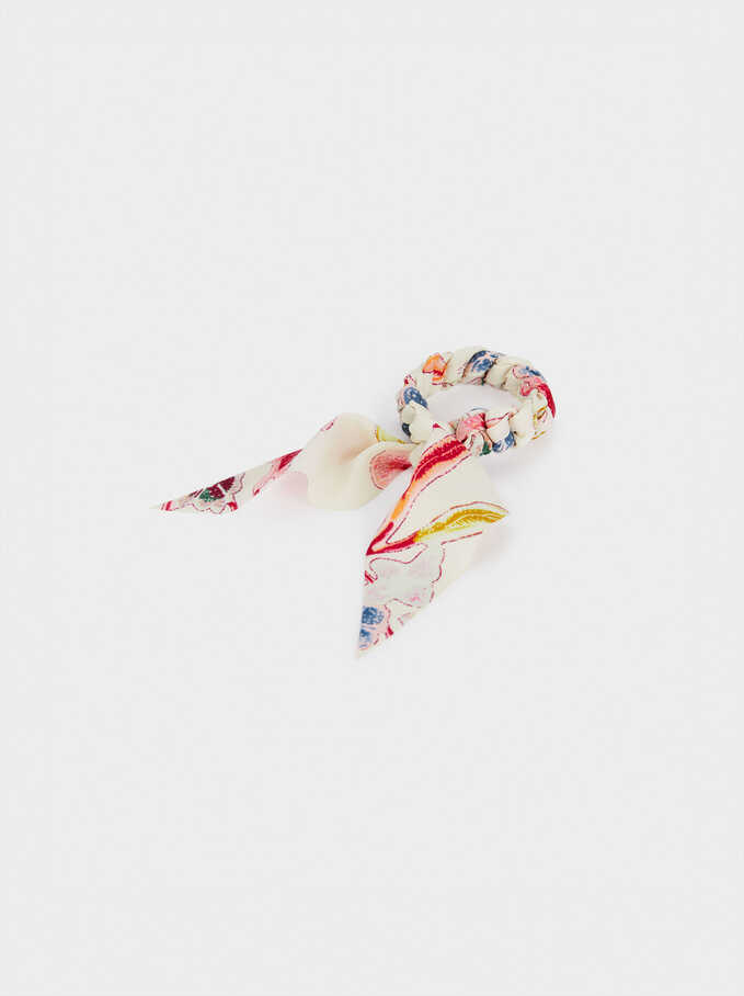 Printed Scrunchie With A Bow, Multicolor, hi-res