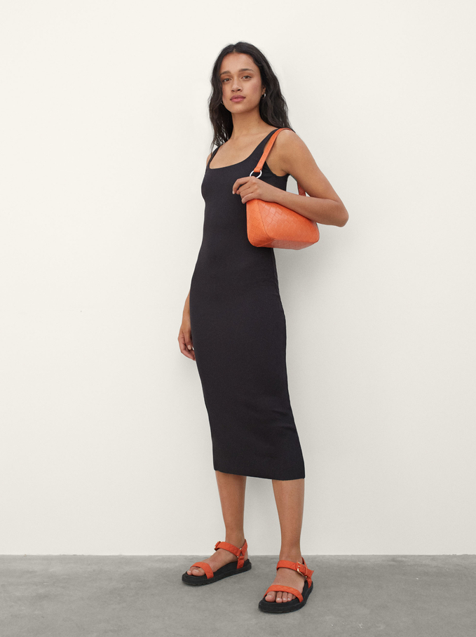 Limited Edition Tight Dress With Texture, Black, hi-res