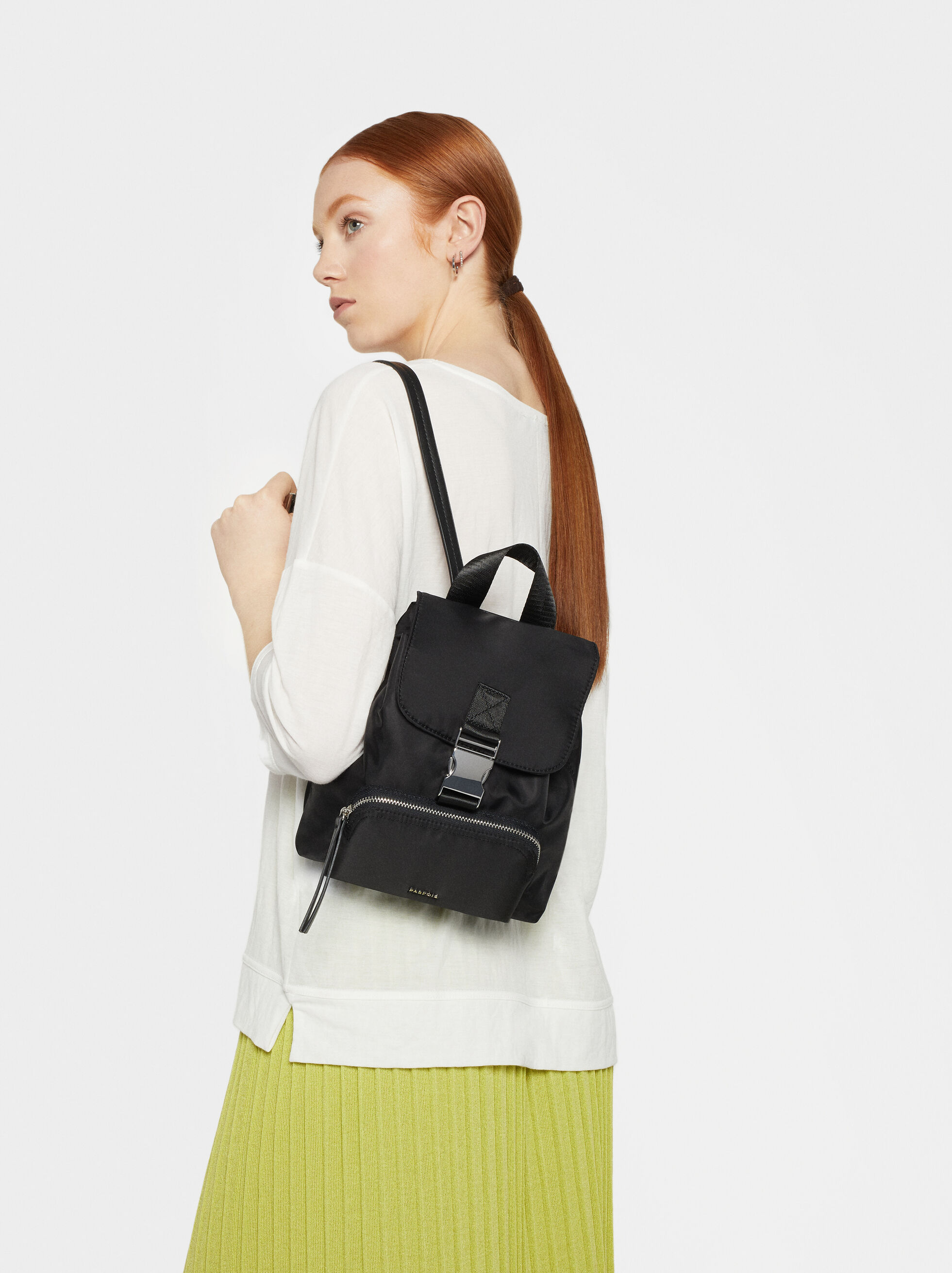 Nylon Backpack With Outer Pocket, , hi-res