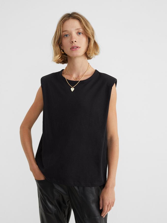 Round Neck T-Shirt With Shoulder Pads, Black, hi-res