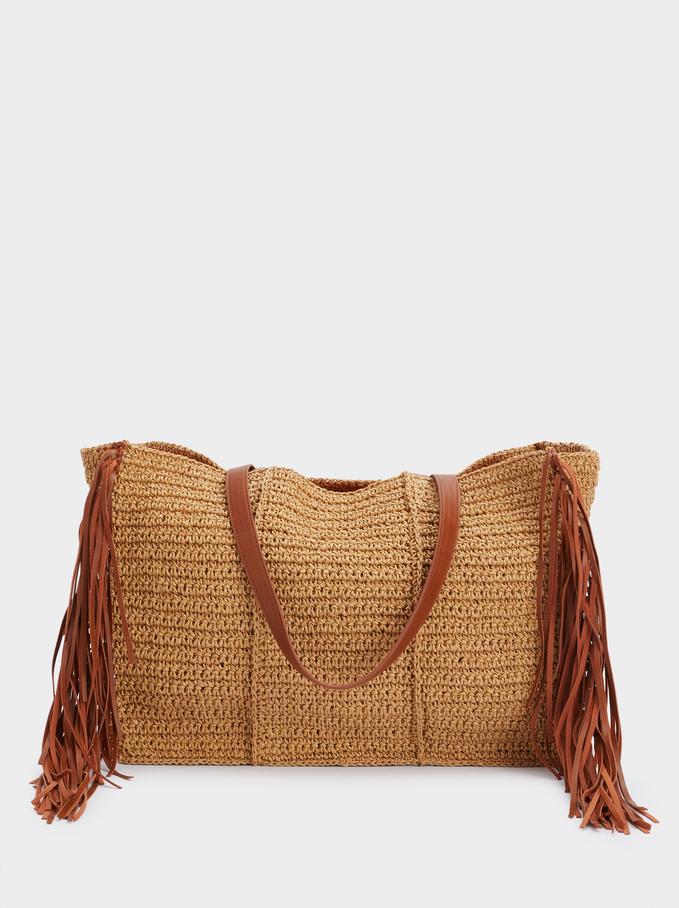 Braided Shoulder Bag With Removable Interior, Beige, hi-res
