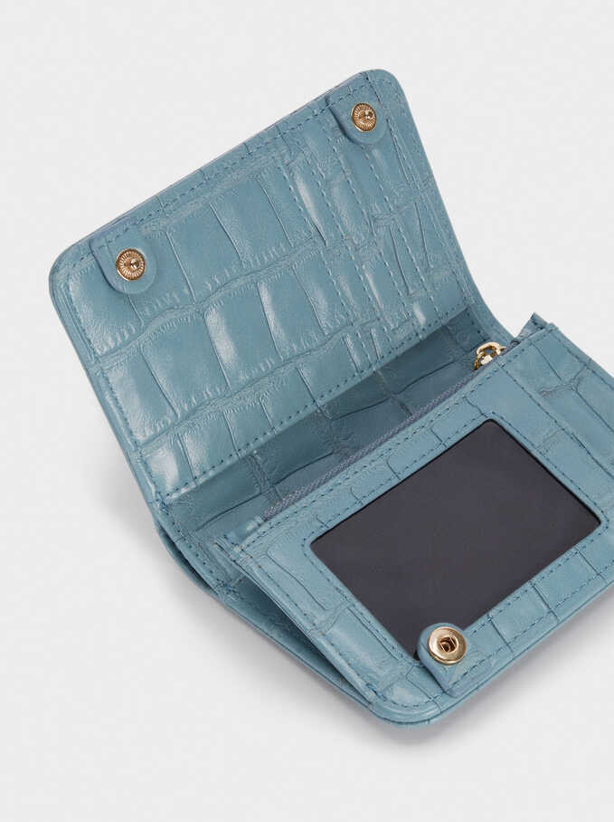 Embossed Animal Print Compact Purse, Blue, hi-res