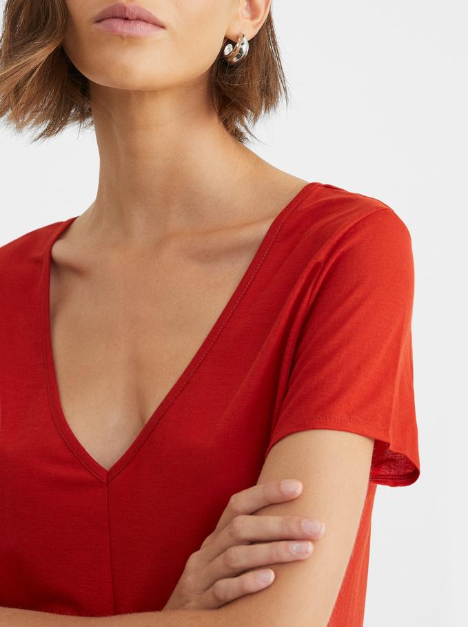Sukienka Z Dekoltem W Serek, Czerwony, hi-res