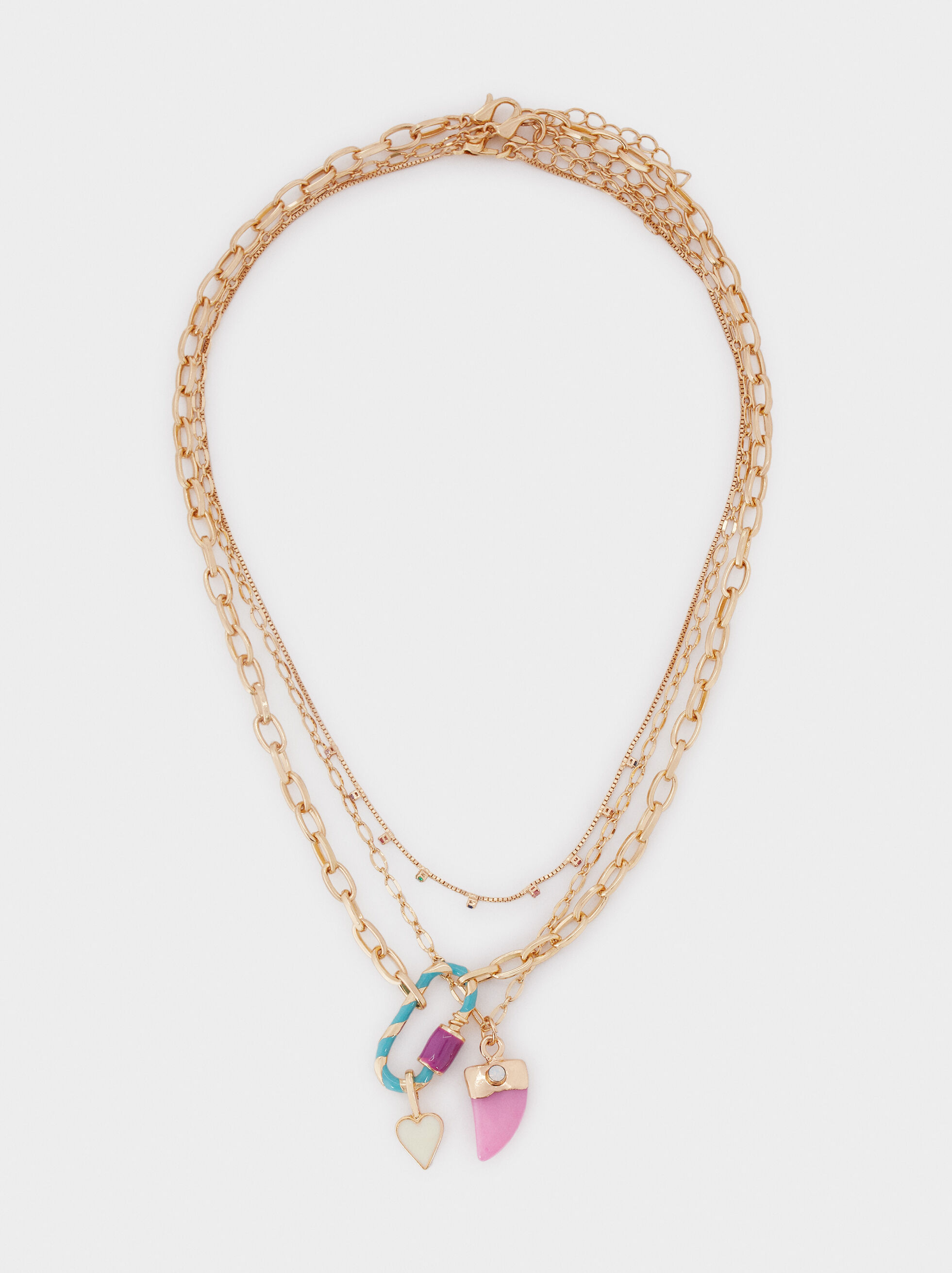 Short Golden Heart Necklace, Golden, hi-res