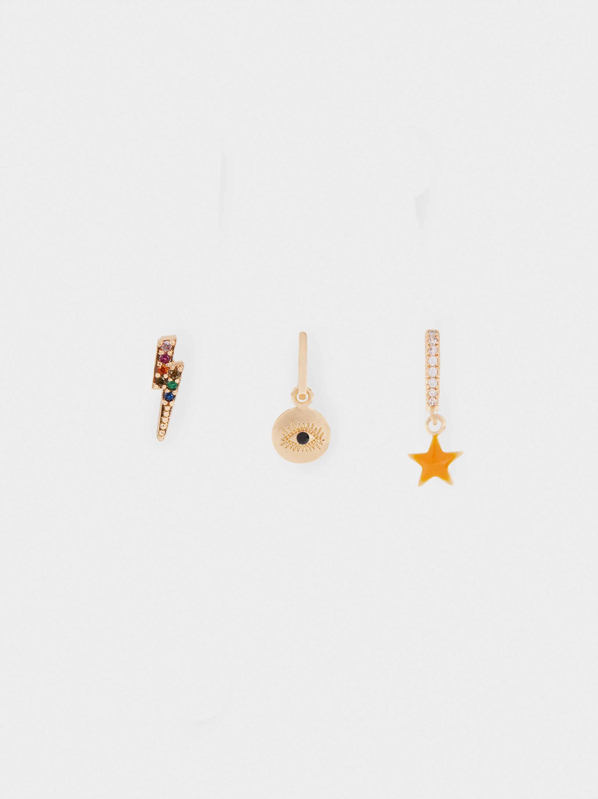 Set Of Golden Hoop Earrings, Multicolor, hi-res